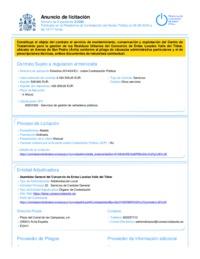 Anuncio en la Plataforma de Contratación del Sector Público rectificando el día de la convocatoría de la Mesa de Contratación