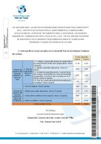Valoración Final de las distintas proposiciones presentadas para tomar parte en el contrato del servicio