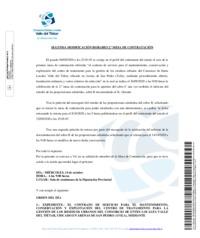 Modificación de la fecha de la Segunda Mesa de Contratación