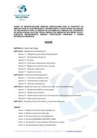 Pliego de especificaciones técnicas particulars para el contratado de servico de mantenimiento